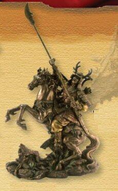 Figurka Samuraj na koniu z naginatą