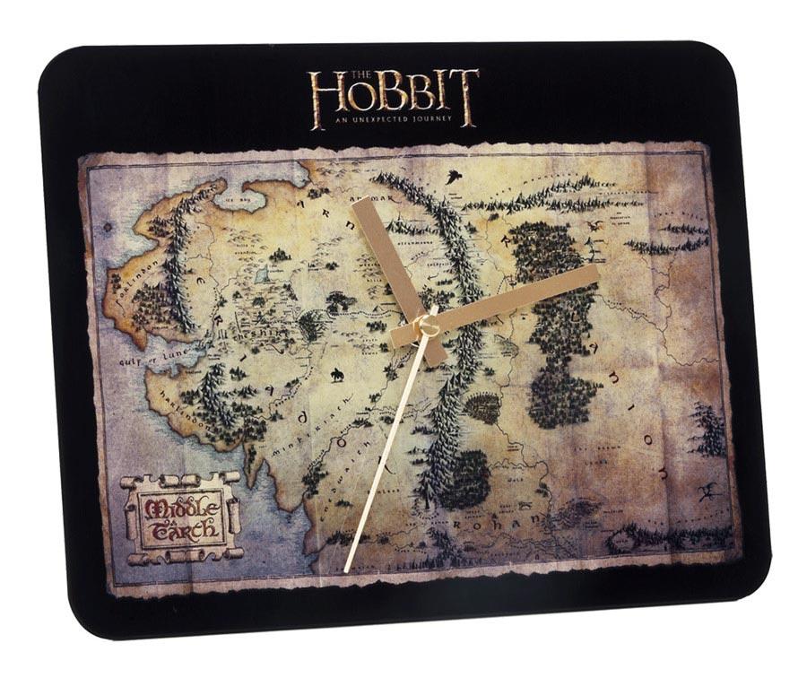 Szklany zegar ścienny z filmu Hobbit - Mapa Śródziemia