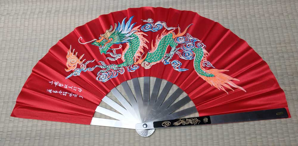 Wachlarz do Kung Fu - Dragon design Red
