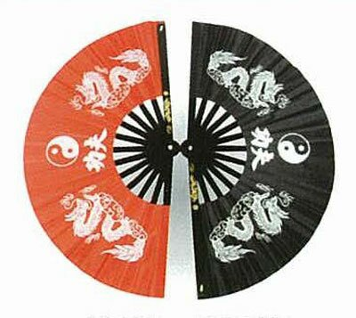 Wachlarz do Kung Fu - Dragon with Ying Yang design red